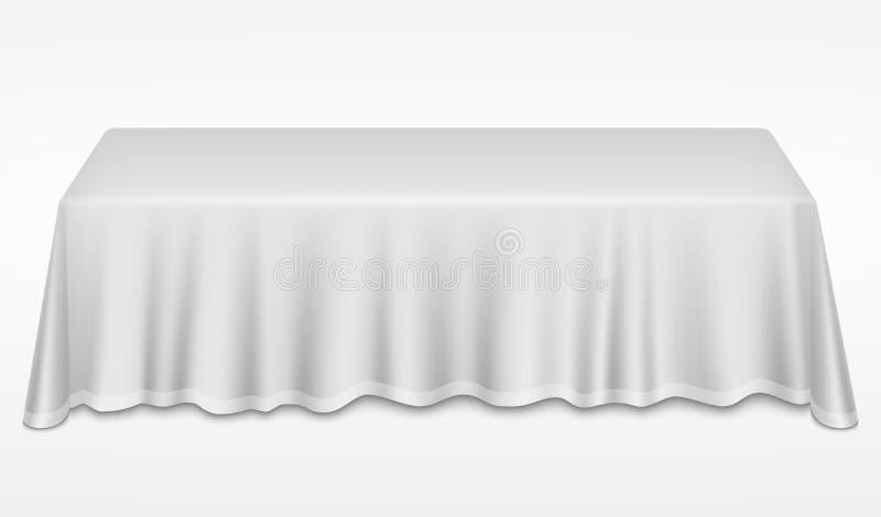 Tabla de banquete vacía de la cena con el ejemplo realista blanco del vector del escritorio del paño 3d stock de ilustración
