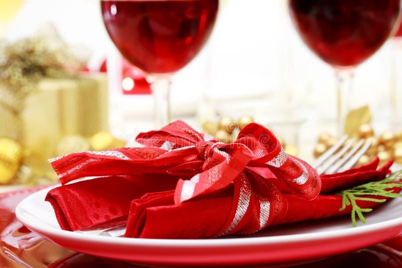 Tabla de cena adornada de la Navidad imagen de archivo