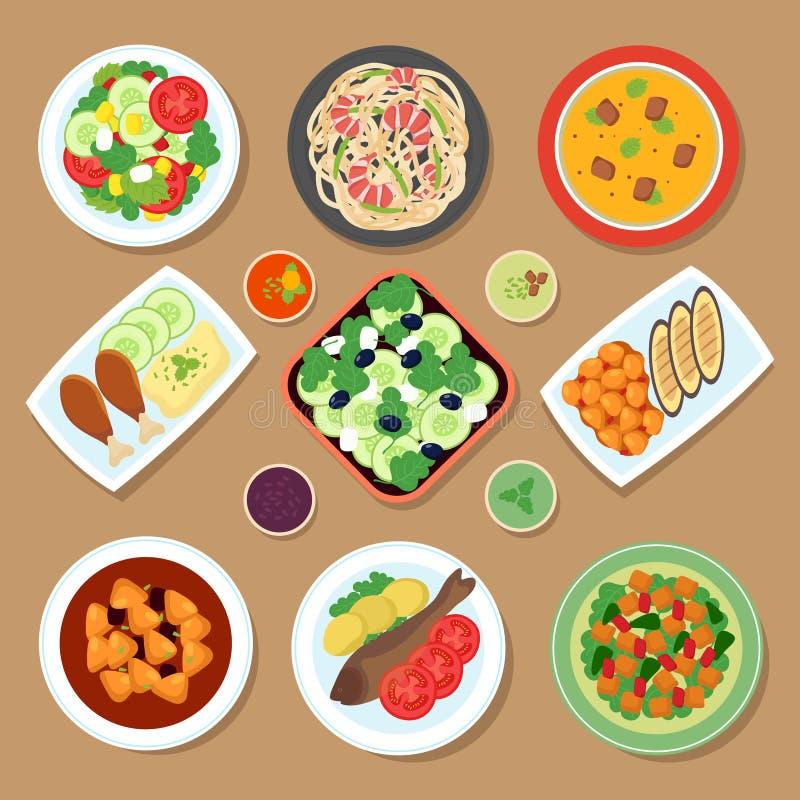 Tabla de cena de la visión superior con los platos europeos y la comida japonesa de la cocina Sistema del vector de la comida de  ilustración del vector