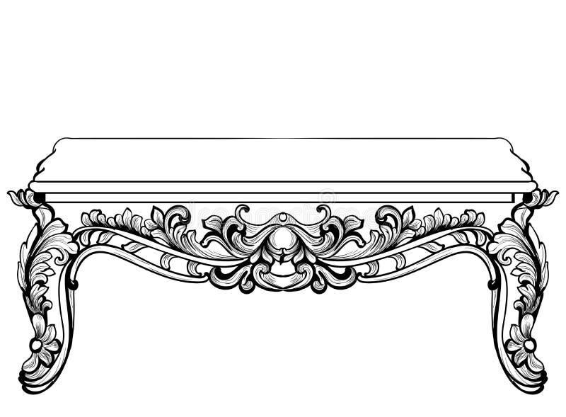 Tabla de consola barroca imperial Los ornamentos tallados lujo francés adornaron los muebles de la tabla Estilo real victoriano d ilustración del vector