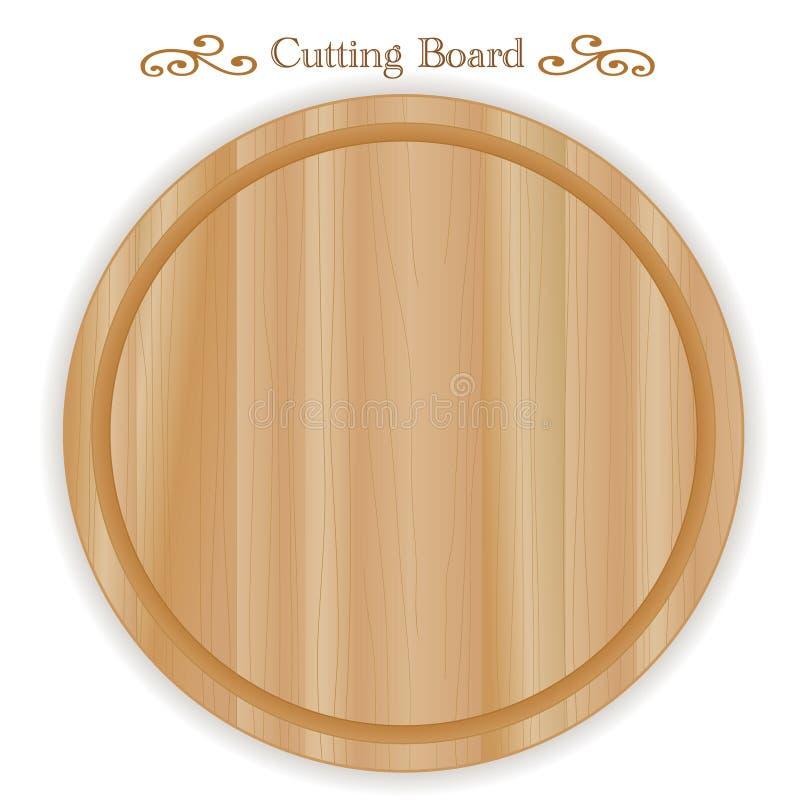 Tabla de cortar de madera, redonda ilustración del vector