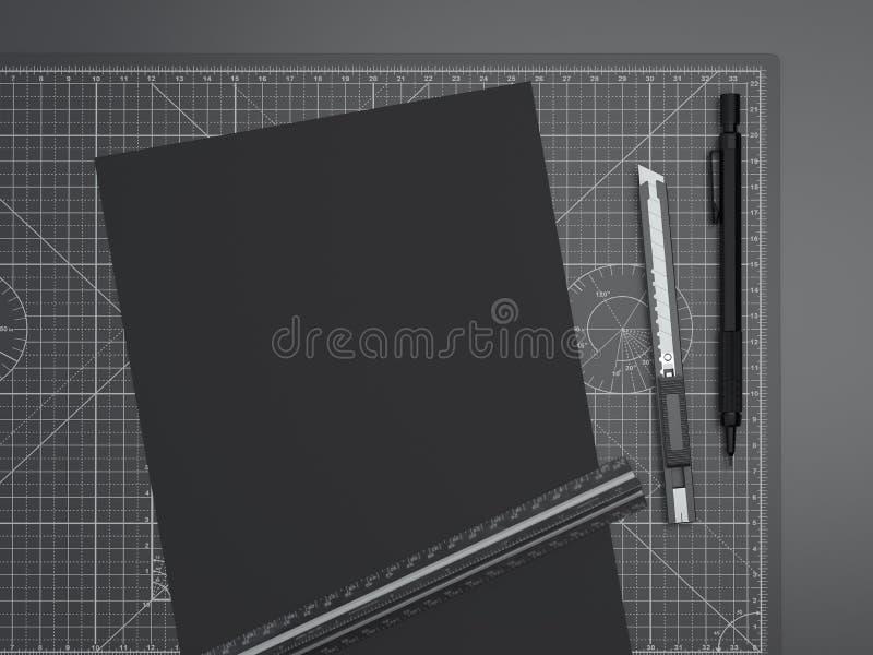 Tabla de cortar de la oficina con la regla, el lápiz y el papel representación 3d libre illustration