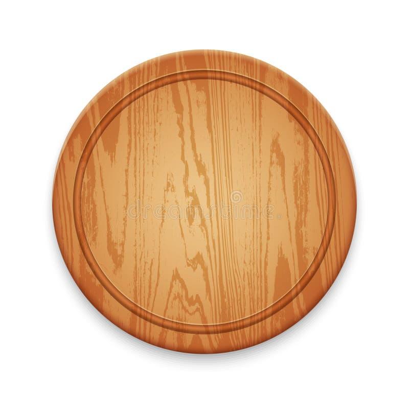 Tabla de cortar redonda de madera en el fondo blanco libre illustration