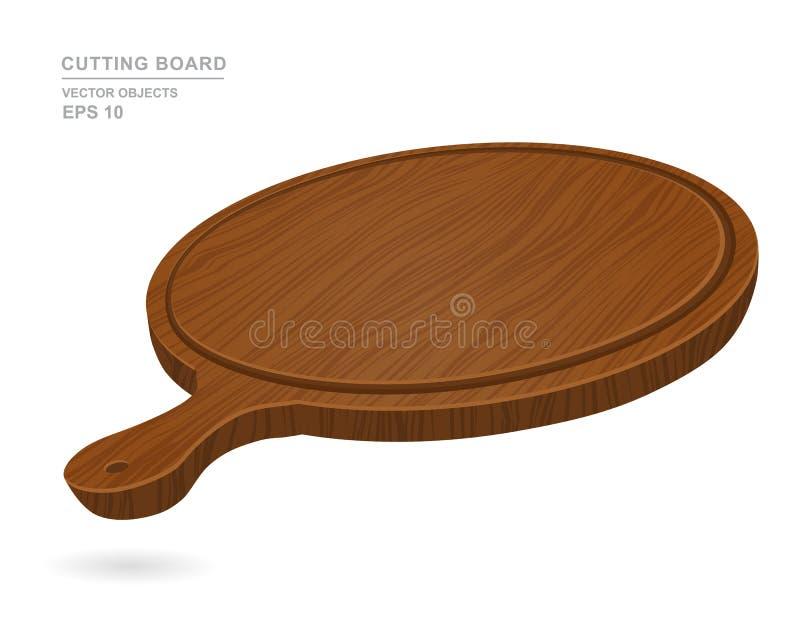Tabla de cortar vacía redonda de madera para la pizza aislada en el fondo blanco Ejemplo del vector del objeto de la cocina ilustración del vector