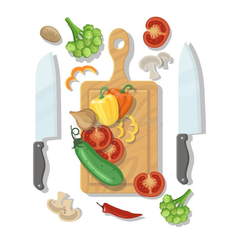 Tabla de cortar y verduras que cocinan el cartel de la tarjeta ilustración del vector