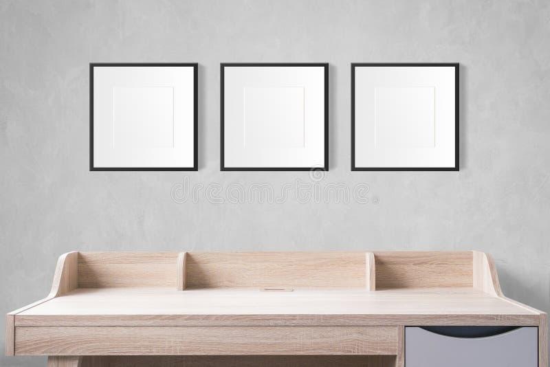 Tabla de funcionamiento con los marcos en blanco de la foto en el estudio vacío con c fotografía de archivo