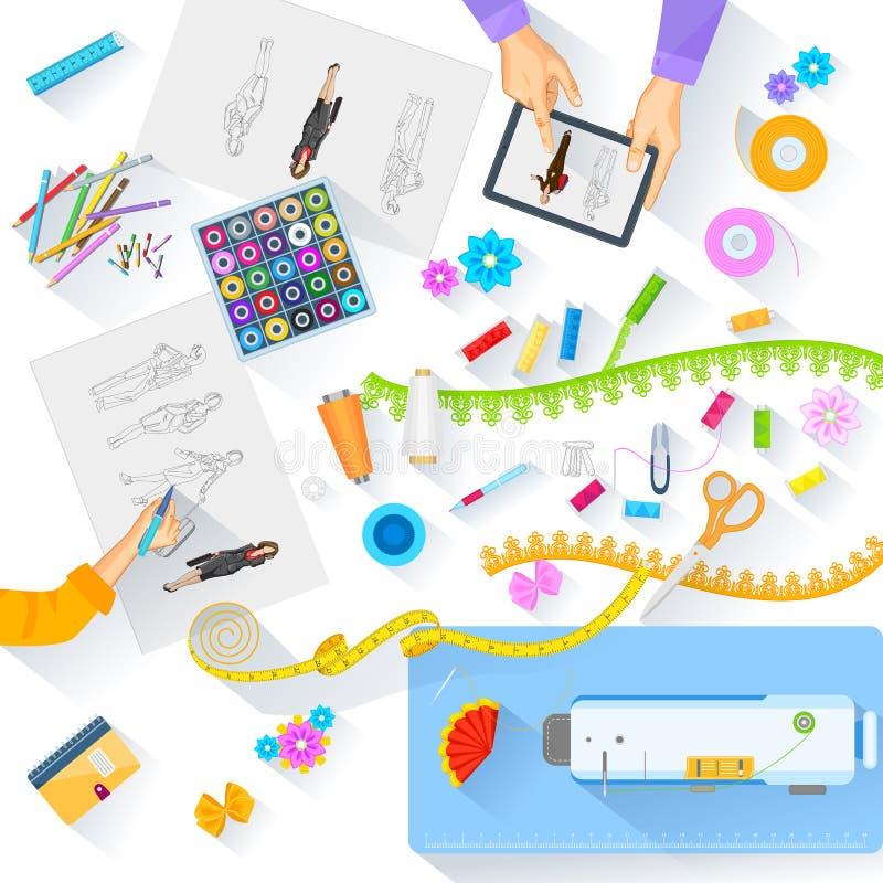 Tabla de funcionamiento de diseñador de moda stock de ilustración