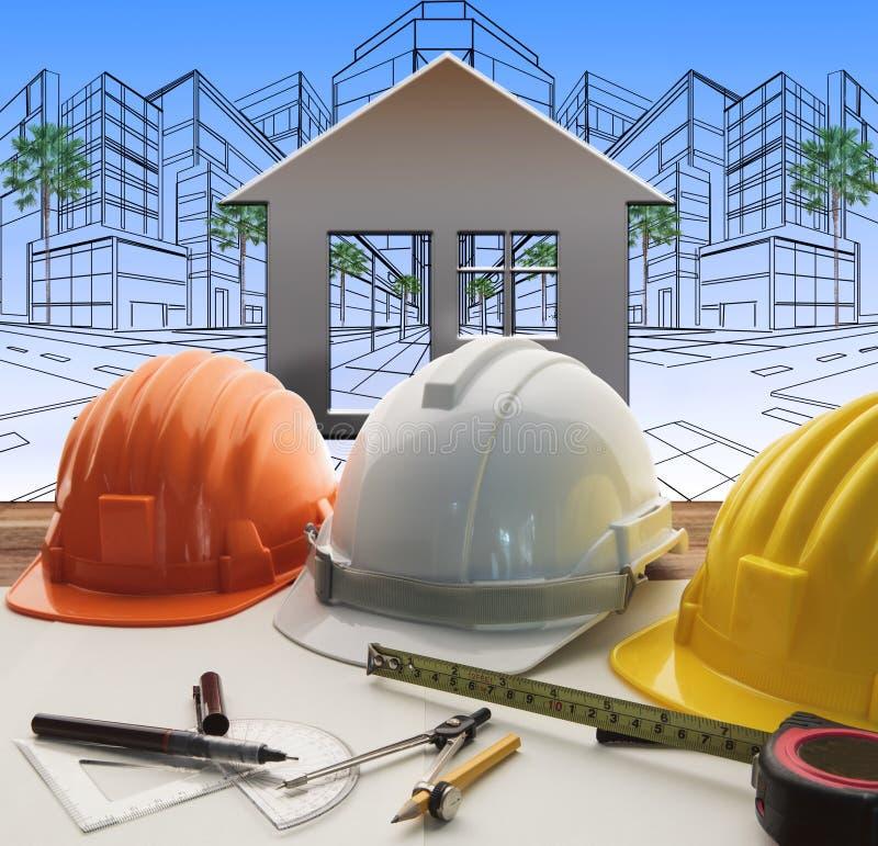 Tabla de funcionamiento del ingeniero con el sector de la construcción y el engineerin foto de archivo libre de regalías