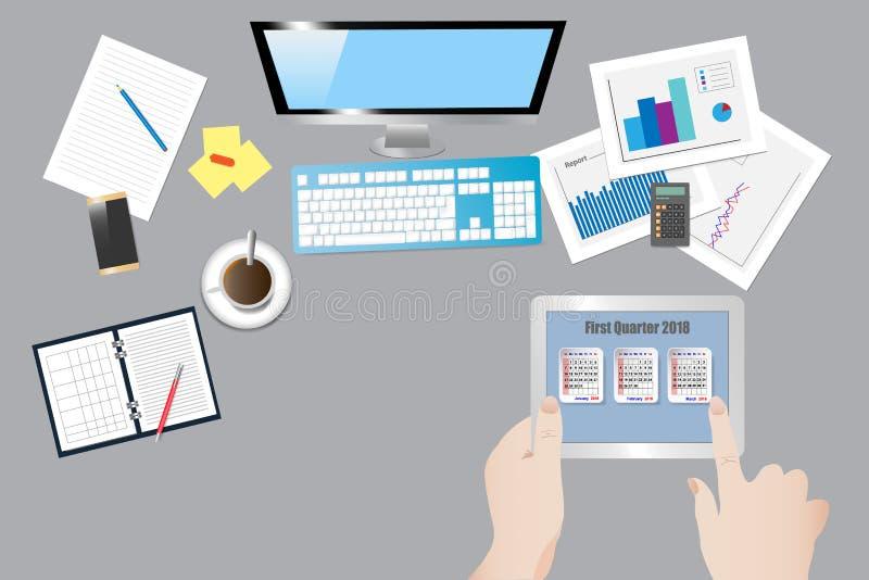 Tabla de la oficina con la opinión superior del equipo ilustración del vector