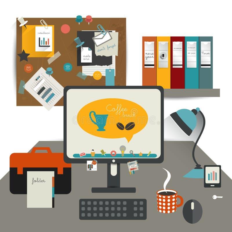 Tabla de la oficina del trabajo. ilustración del vector