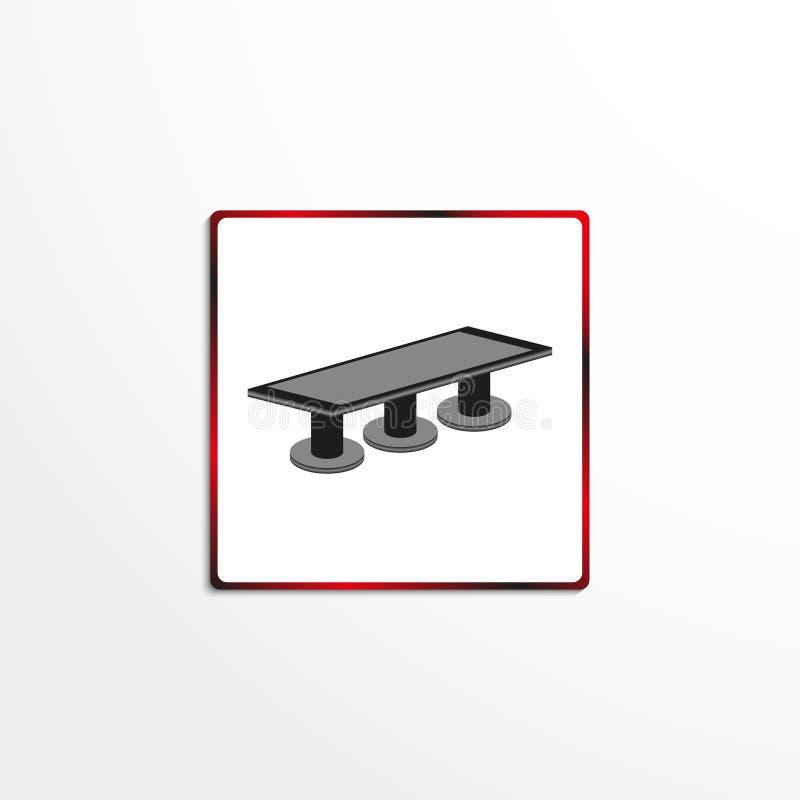 Tabla de la oficina para las reuniones Engrana el icono stock de ilustración