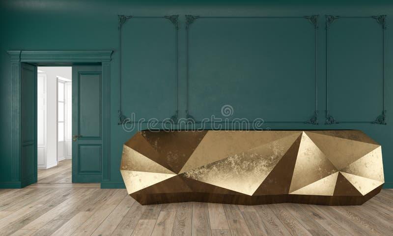 Tabla de la recepción del oro en interior clásico del color verde con los moldeados y el piso de madera stock de ilustración