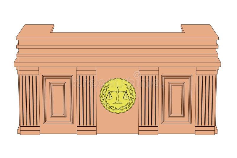 Tabla de la sala de tribunal stock de ilustración