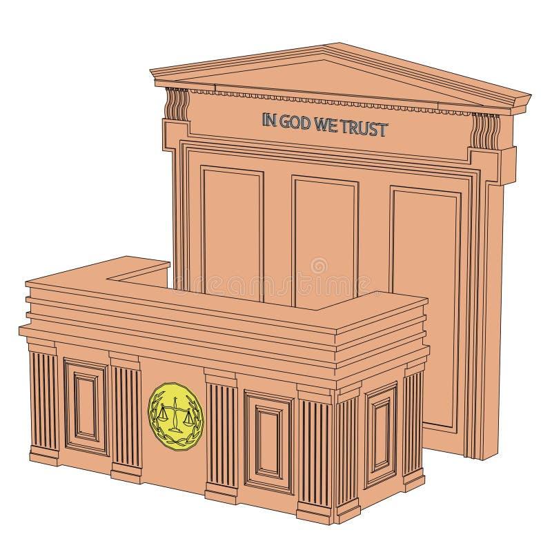 Tabla de la sala de tribunal ilustración del vector
