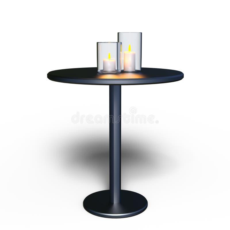 Tabla de la vela y del lado ilustración del vector
