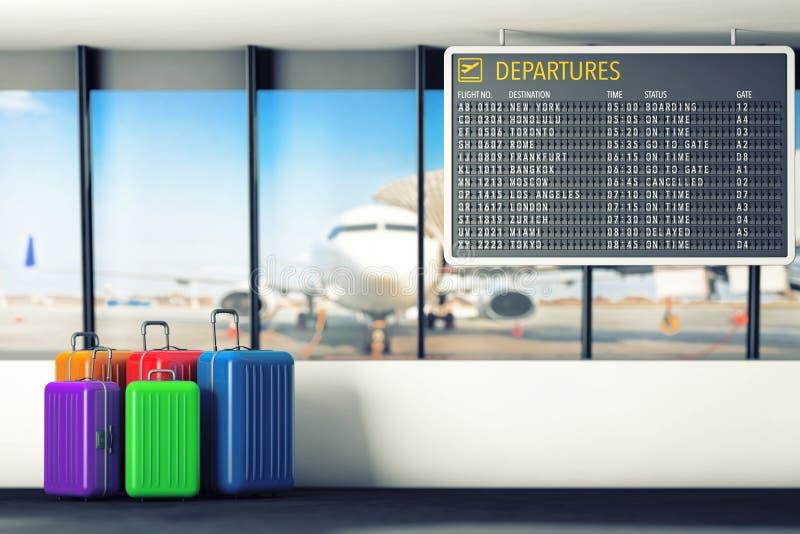 Tabla de las salidas del aeropuerto con las maletas representación 3d ilustración del vector