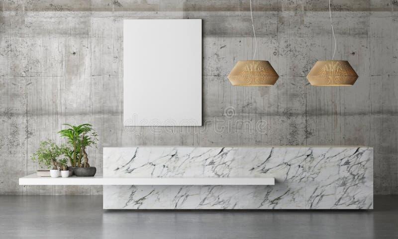 Tabla de mármol de la oficina de recepción con las plantas en la pared concreta del fondo, stock de ilustración