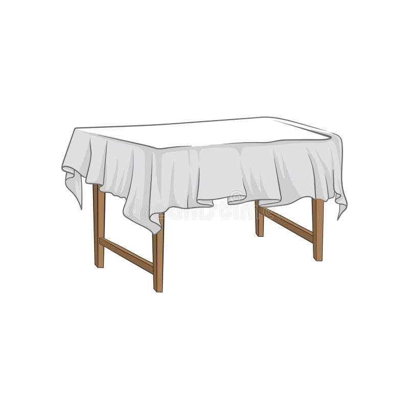 Tabla de madera cuadrada vacía con el ejemplo dibujado mano del vector del mantel stock de ilustración