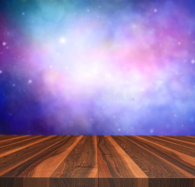 tabla de madera 3D que mira hacia fuera a un cielo nocturno stock de ilustración