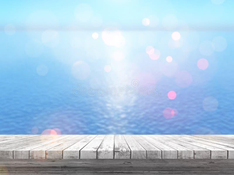 tabla de madera 3D que mira hacia fuera a un océano azul stock de ilustración