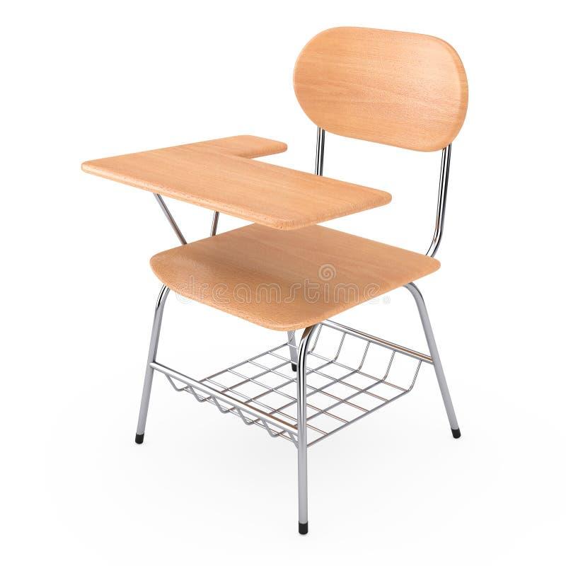 Tabla de madera del escritorio de la escuela o de la universidad de la conferencia con la silla rende 3D ilustración del vector