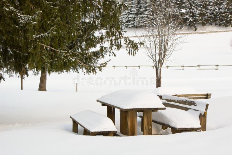 Tabla de madera nevosa fotografía de archivo