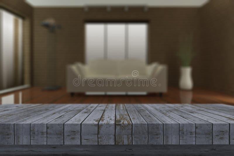 tabla de madera rústica 3D con el salón defocussed en fondo libre illustration