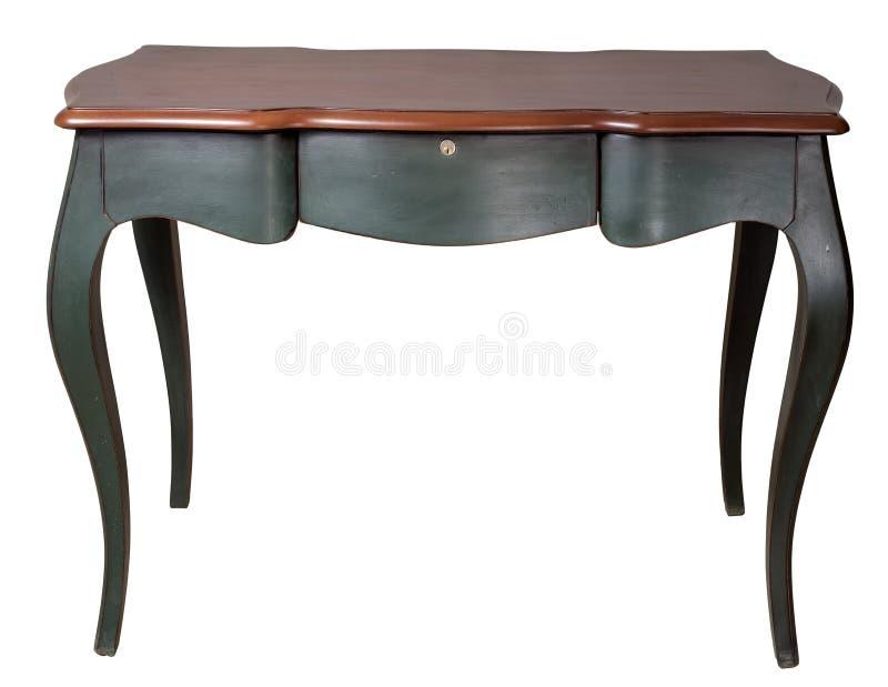Tabla de madera retra del escritorio con las piernas verde oscuro y tres los cajones aislados en el fondo blanco incluyendo la tr imagenes de archivo