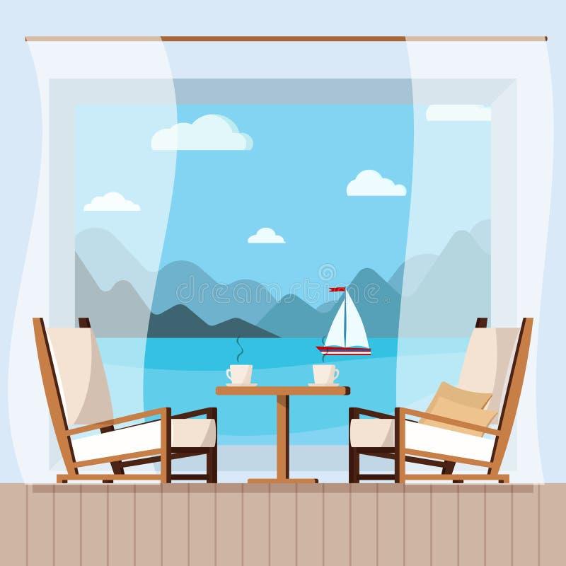 Tabla de madera, tazas de té o de café, cortina y sillas en el balcón con paisaje marino stock de ilustración