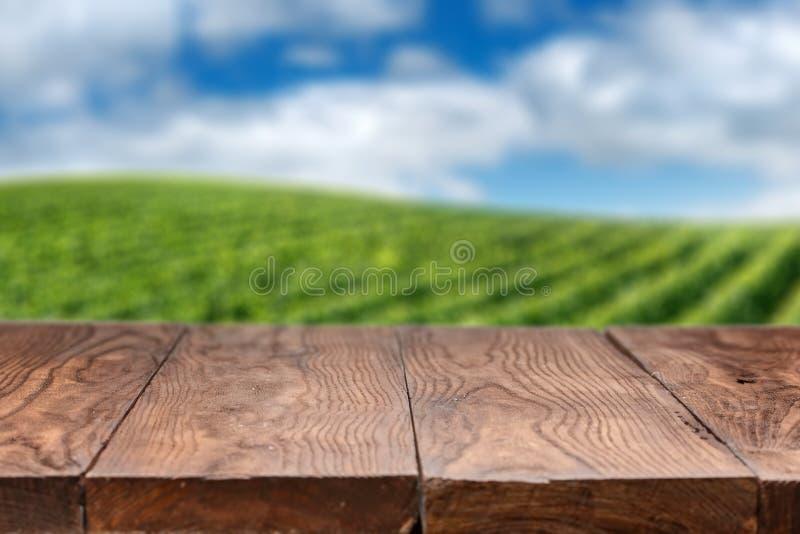 Tabla de madera vacía con paisaje del viñedo imagenes de archivo