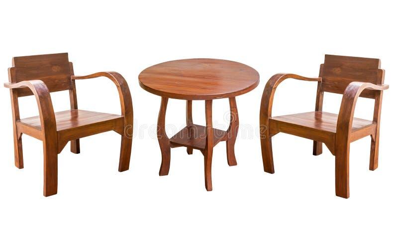 Tabla de madera y silla aisladas fotos de archivo