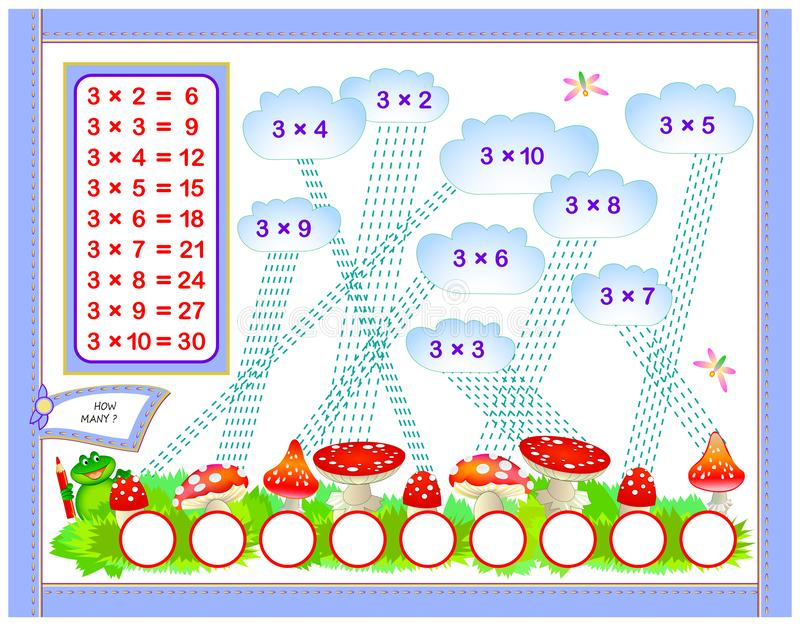 Tabla de multiplicación por 3 para los niños Escriba los números en círculos correctos Página educativa para el libro del bebé de ilustración del vector