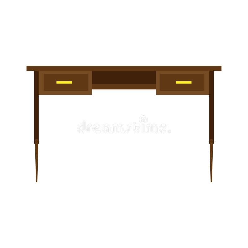 Tabla de vector de la vista delantera de la oficina del escritorio Icono plano aislado lugar de trabajo de madera del negocio stock de ilustración