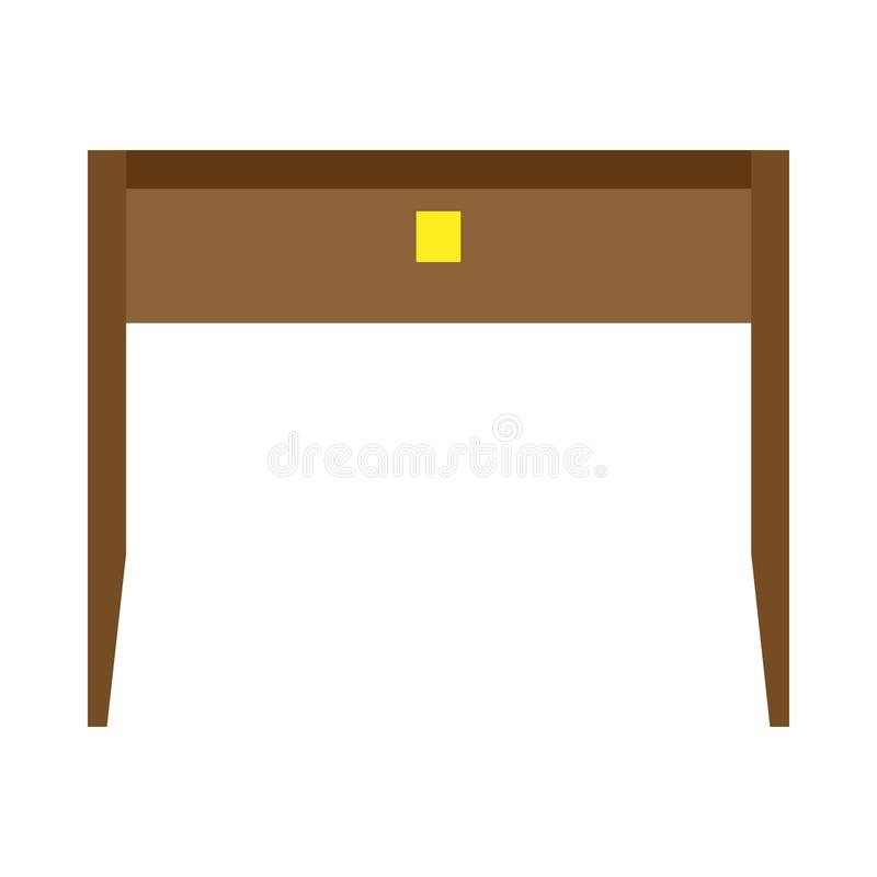 Tabla de vector de la vista delantera de la oficina del escritorio Icono plano aislado lugar de trabajo de madera del negocio ilustración del vector