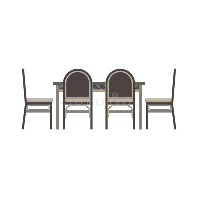 Tabla del comedor, plano monocromático de la vista lateral de las sillas en tema gris del color ilustración del vector