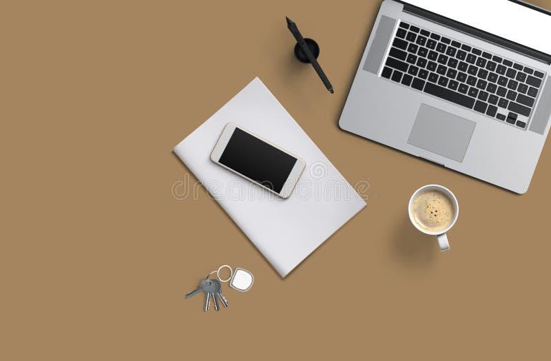 Tabla del escritorio de oficina con el ordenador portátil, smartphone con la pantalla negra sobre un cuaderno y taza de café Visi ilustración del vector