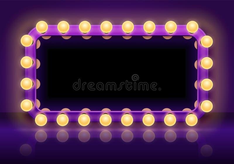 Tabla del espejo del maquillaje Marco entre bastidores de las luces de los espejos, espejo del vestuario con el ejemplo del vecto ilustración del vector