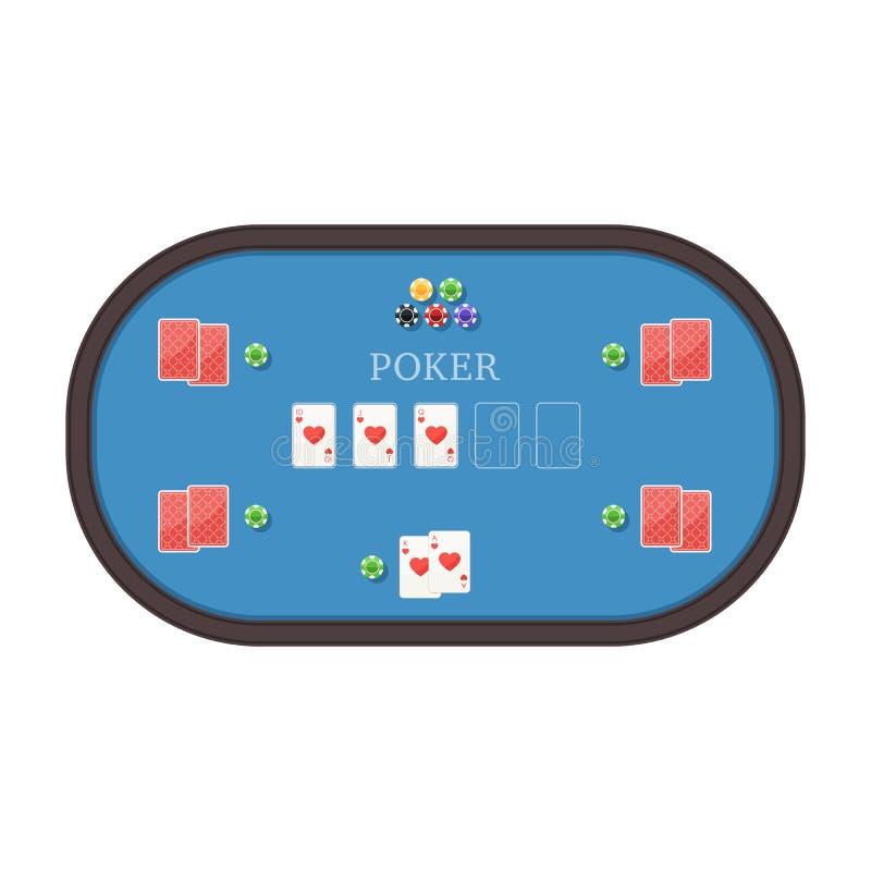 Tabla del póker con las tarjetas y los microprocesadores libre illustration
