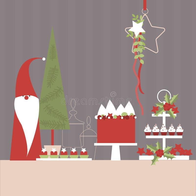 Tabla del postre de la Navidad con el duende y el árbol de navidad libre illustration