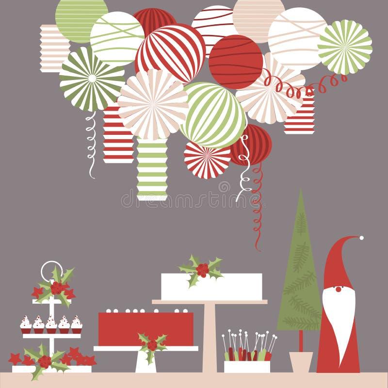 Tabla del postre de la Navidad y linternas de papel libre illustration