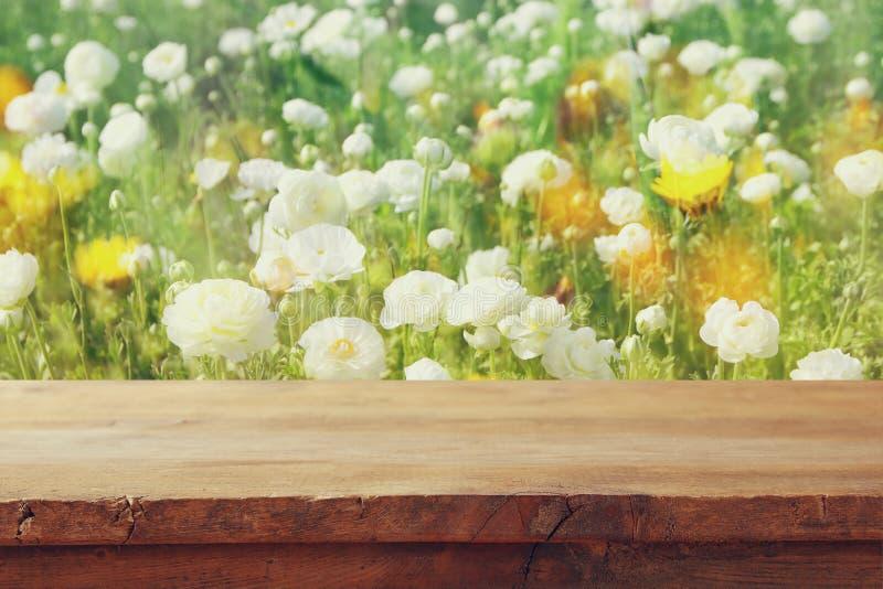 tabla del tablero de madera delante del campo de flores del verano fotografía de archivo