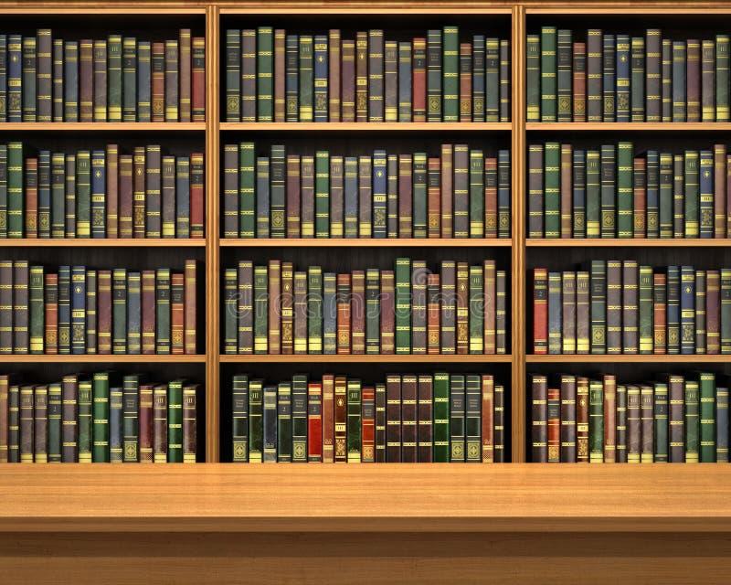 Tabla en el fondo del estante por completo de libros foto de archivo