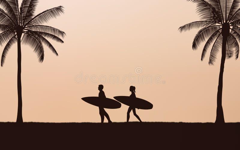Tabla hawaiana que lleva de la persona que practica surf de los pares de la silueta en la playa bajo fondo del cielo de la puesta stock de ilustración
