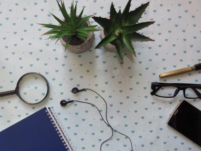 Tabla modelada con las fuentes, lupa, un par del escritorio de oficina de vidrios, flores fotos de archivo