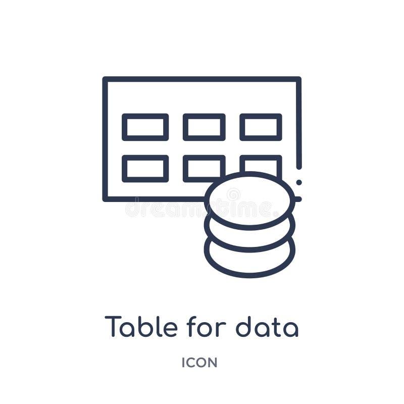 Tabla para el icono de los datos del esquema de la interfaz de usuario stock de ilustración