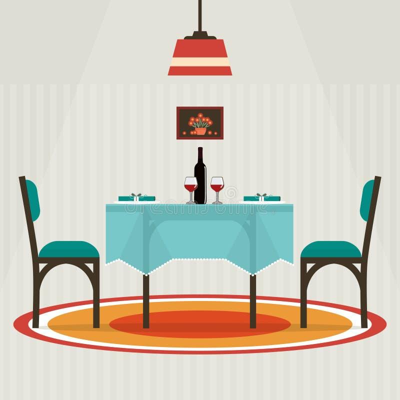 Tabla plana del estilo para dos con el paño, copas de vino, botella ilustración del vector