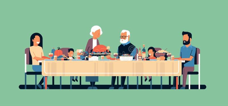Tabla que se sienta de la acción de gracias del día de la familia multi feliz de la generación que celebra concepto tradicional d libre illustration