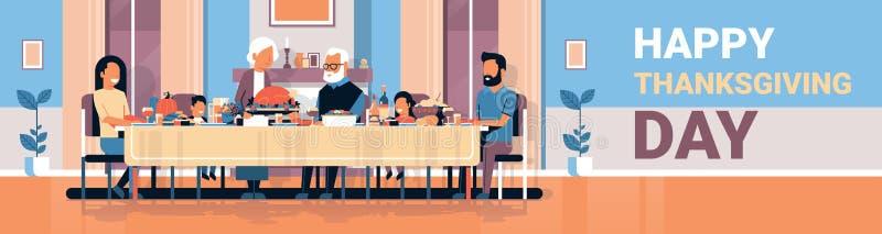 Tabla que se sienta de la acción de gracias del día de la familia multi feliz de la generación que celebra concepto tradicional d stock de ilustración