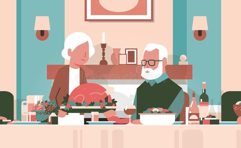 Tabla que se sienta de los pares mayores felices de la acción de gracias que celebra concepto tradicional de la cena del pavo del ilustración del vector