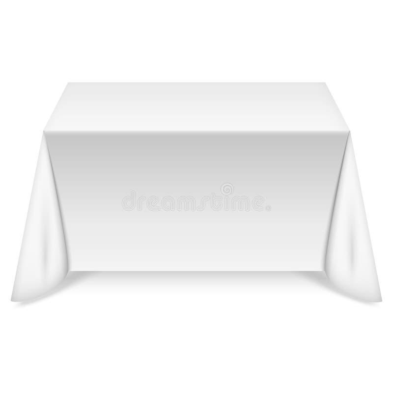 Tabla rectangular con el mantel blanco ilustración del vector